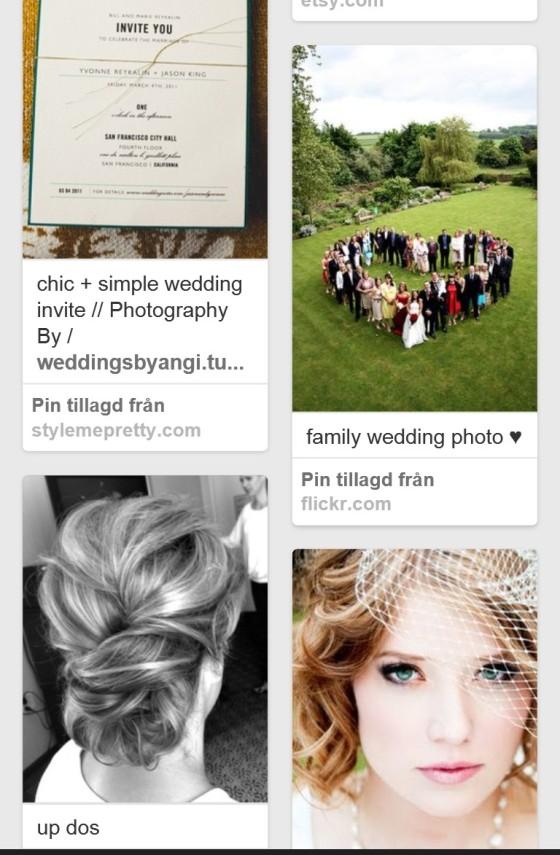 Screenshot minun hääaiheisesta Pinterest-kansiosta.